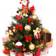 Christmas tree decorated in red and gold — Stok Fotoğraf #1345569