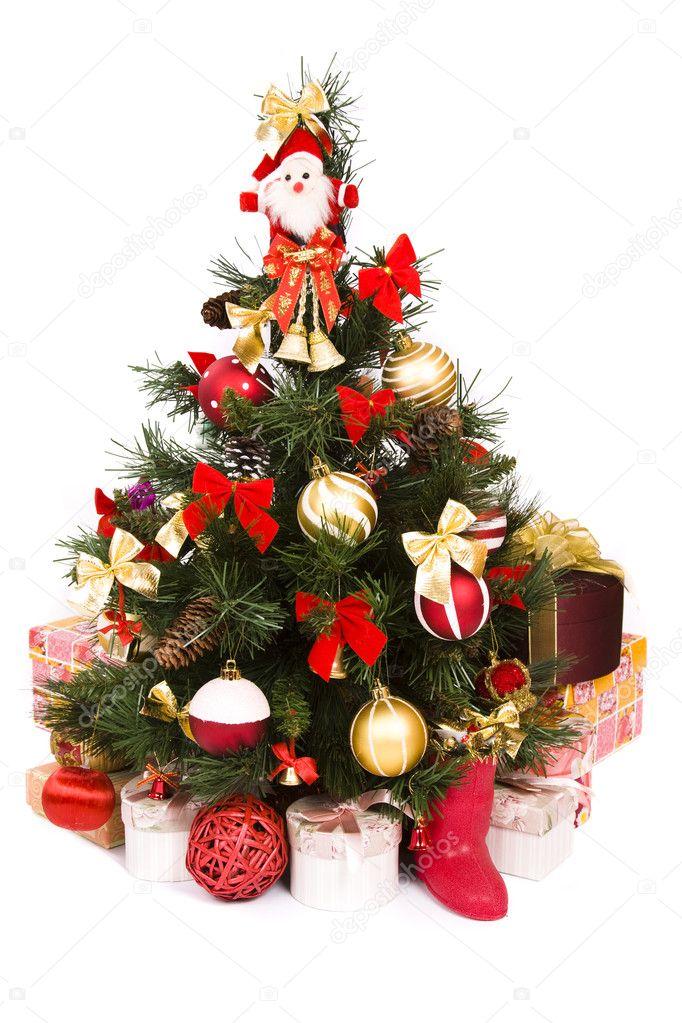 weihnachtsbaum in rot und gold verziert stockfoto. Black Bedroom Furniture Sets. Home Design Ideas