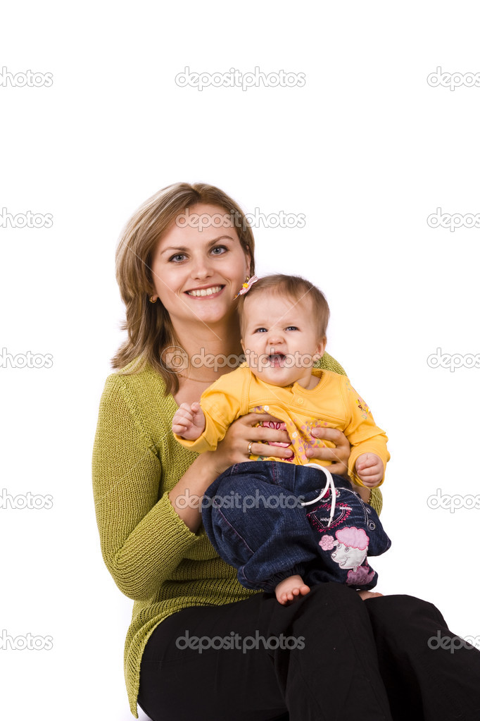 Happy family. Mother and little daughter are smiling . Woman and baby are hugging and posing happily on white background — Stock Photo #1411377