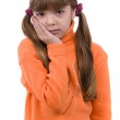 Blond young girl with toothache on white background. — Stock Photo #1472758