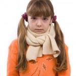 dívka je nemocný a bolest v krku — Stock fotografie