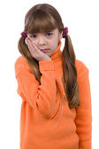 Blond young girl with toothache on white background. — Stock Photo