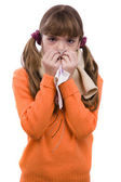 Sneezing.Girl sick and have sore throat — Stock Photo
