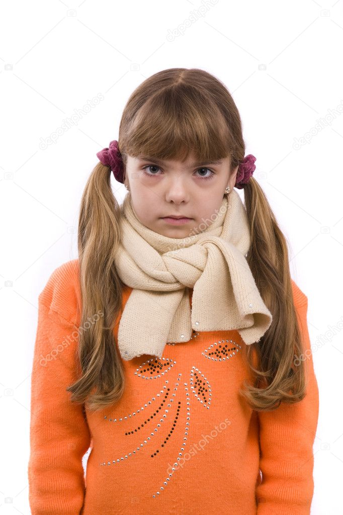Little girl on white background in winter clothing is sick. Female have sore throat. — Stock Photo #1472794