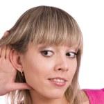 kobieta słuchania plotek — Zdjęcie stockowe