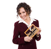 Affärskvinna med trä abacus. — Stockfoto