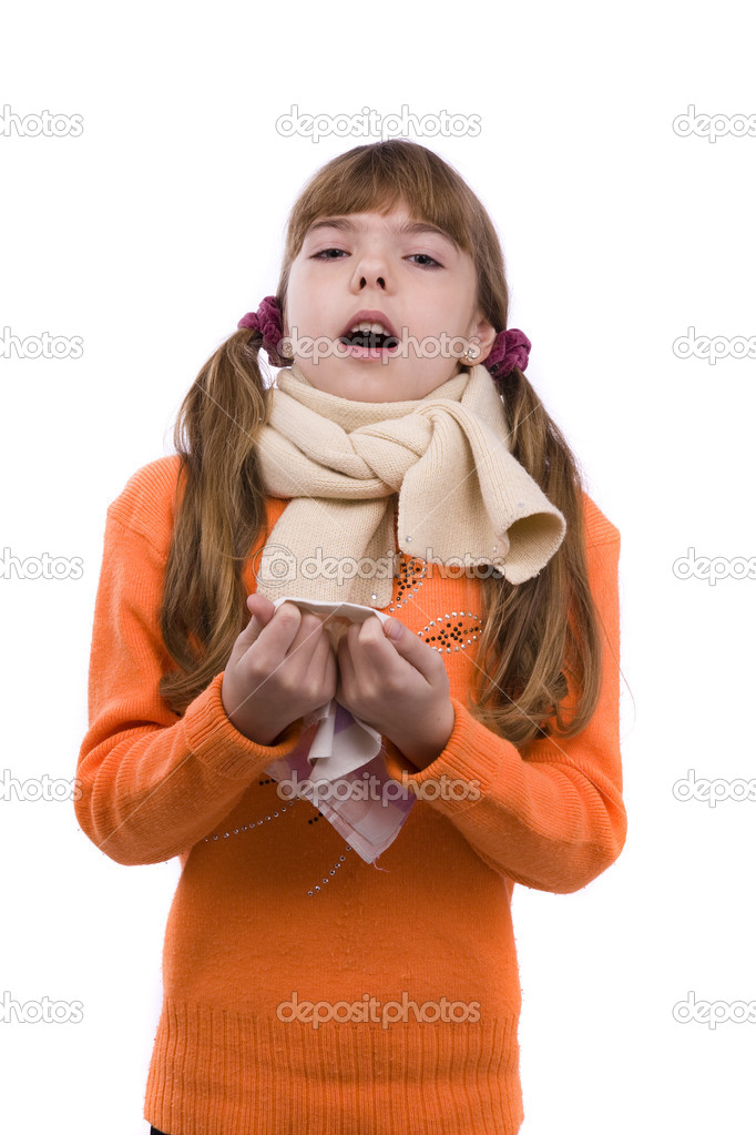Sneezing. Little girl on white background in winter clothing is sick. Female have sore throat and sneezing. — Stock Photo #1811257