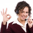 Foto Stock: Telephone operator shows OK