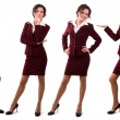 Businesswoman dressed in red suit. - Stok fotoraf