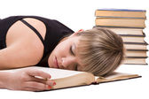 Student is sleeping on the book — Stock Photo