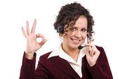 Telephone operator shows OK — Stock Photo