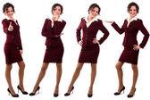 Kobieta ubrana w czerwony garnitur. — Zdjęcie stockowe