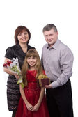 Father giving gift daughter and mother — Stockfoto