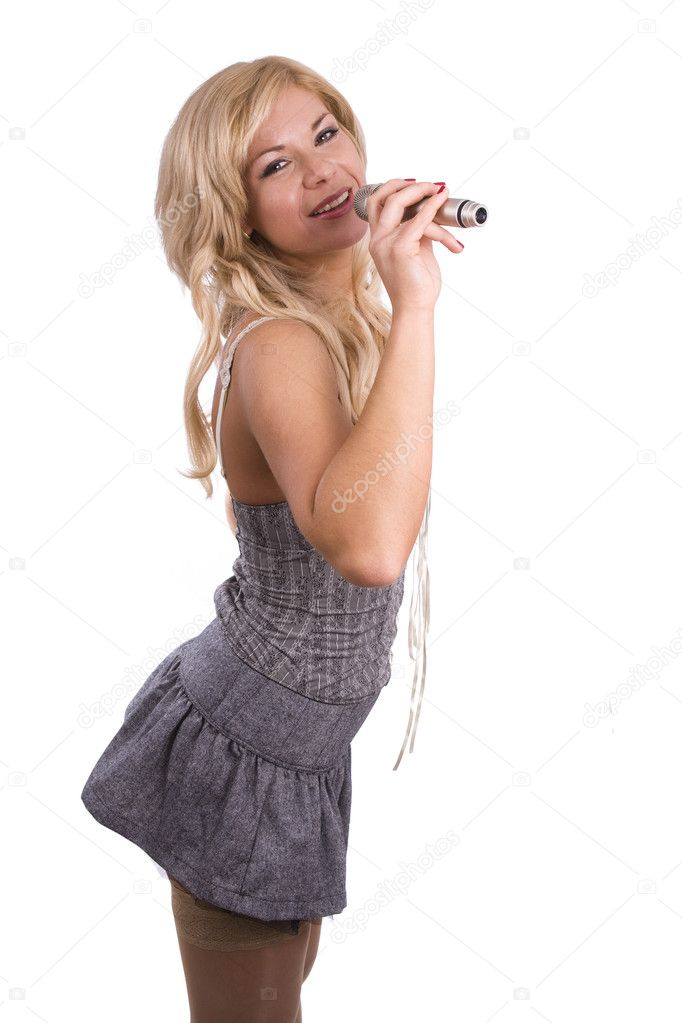 Holding Old Fashioned Microphone Jazz Stock Photos