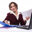 Woman with headset and laptop — Stock Photo