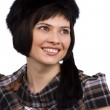 Woman in furry black hat. — Stock Photo