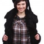 mooie vrouw in winterjas — Stockfoto
