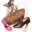 Modern still-life with shoes and bag - Stock Photo