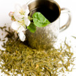 Cup of tea with flower and tea leafs — Stock Photo #1239568