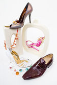 Fashion still-life with glamour shoes — Stock Photo