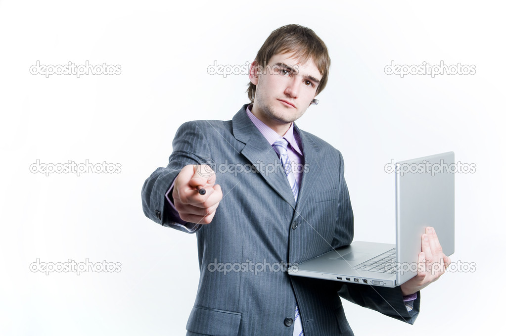 Businessman holding laptop, isolated on white background — Stock Photo #1239203