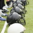 Stock Photo: Row of football helmets