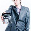 Tired businessman with calculator — Foto Stock