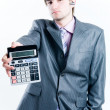 Tired businessman with calculator — Stock Photo