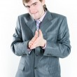 Funny businessman gesticulating — Stock Photo