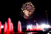 Fireworks and fountains — Stock Photo