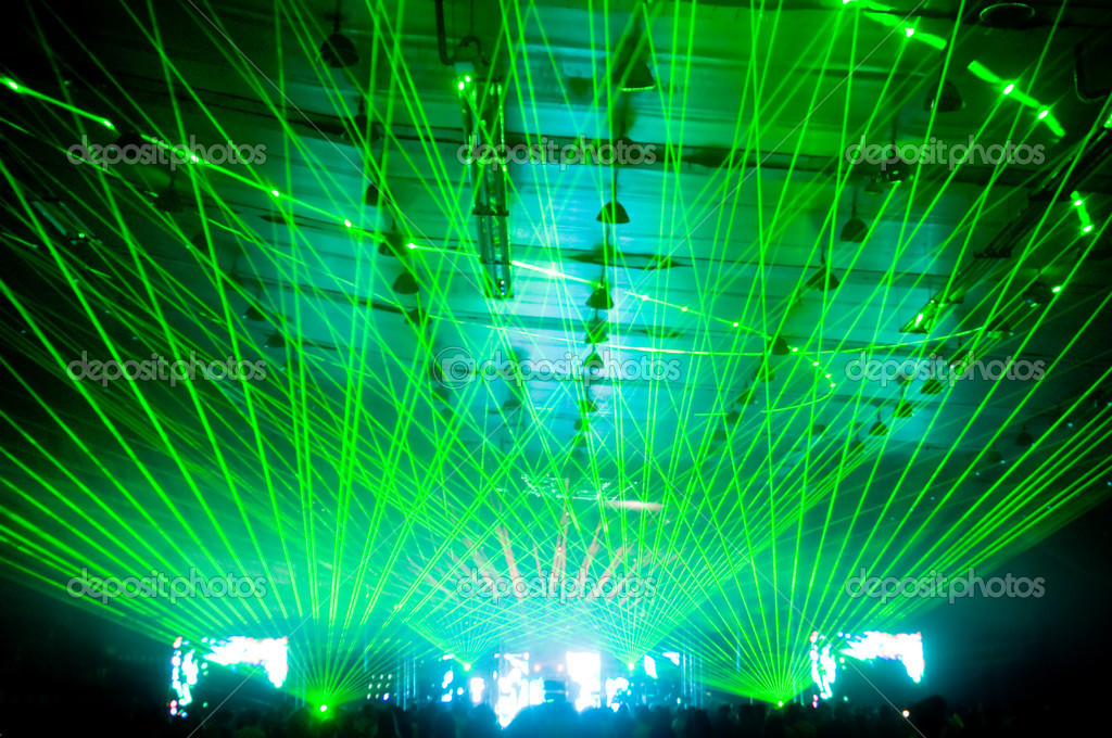 Laser show at the concert, green rays — Stock Photo #1249641
