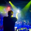 Dj at the concert, blurred motion — Stok fotoğraf