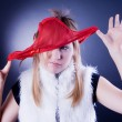 Stock Photo: Funny girl with panties on the head
