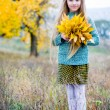 Stock Photo: Little girl with autumn leaves
