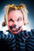 Crazy Jack-o-lantern girl — Stock Photo