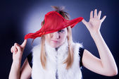 Funny girl with panties on the head — Stock Photo