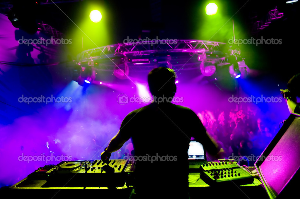Dj at the concert, laser show and music — Stockfoto #1251544
