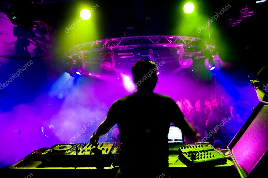 Dj at the concert, laser show and music — Stock fotografie #1251544