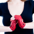 Close-up of female hands in gloves — Stock Photo