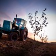 Landscape with agriculture machine — Stockfoto