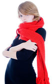 Beautiful girl in red scarf — Stock Photo