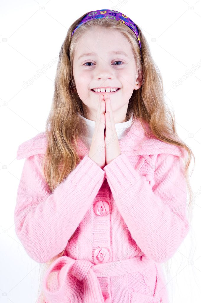 Portrait of a happy little girl, studio isolated — Stock Photo #1265462