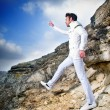 Fashionable man in white suit — Stockfoto
