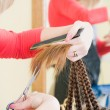 Close-up of haircut in hairdresser salon — Stock Photo