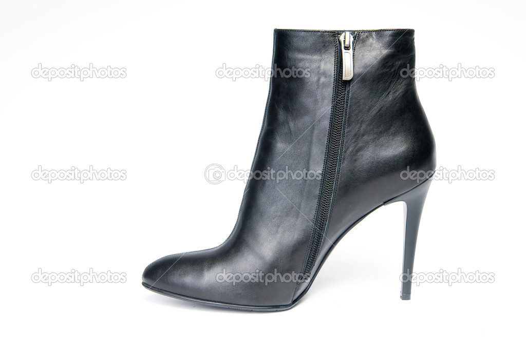 Black female boot, isolated on white background  — Stock Photo #1371983