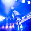 Vintage microphone, blue-toned — Stock Photo