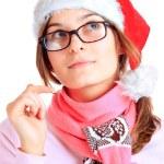 Happy girl in red santa — Stock Photo