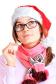 Happy girl in red santa — Stock Photo