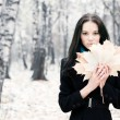 Brunette woman with maple leaves - Stock Photo