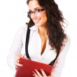 Young businesswoman with folder — Stock Photo